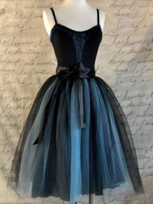 Blue Plain Grenadine Knee Length Sweet Nylon Skirt