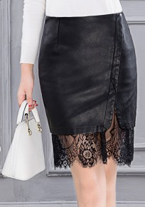 Black Patchwork Lace Hollow-out PU Leather Fashion Skirts