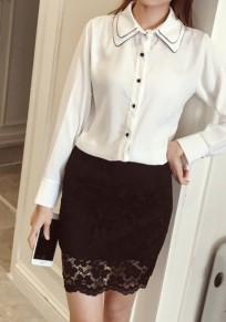 Black Patchwork Lace Above Knee Fashion Polyester Skirt