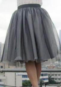 Black Plain Pleated Knee Length Sweet Spandex Skirt