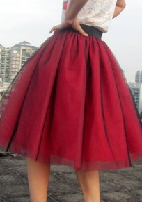 Red Plain Pleated Knee Length Sweet Spandex Skirt