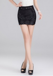 Black Flowers Hollow-out Above Knee Fashion Cotton Blend Skirt