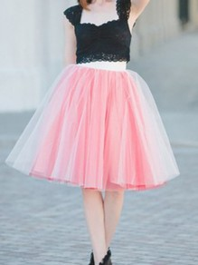 Pink Patchwork Grenadine Double-deck Elastic Waist Sweet Skirt