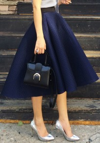 Navy Blue Plain Hollow-out Elastic Waist High Waisted Vintage Skirt