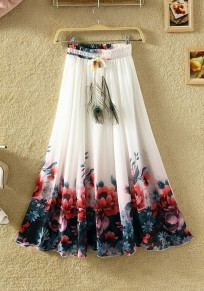 White Floral Elastic Waist High Waisted Bohemian Skirt
