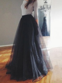 Black Layers Grenadine Elastic Waist Fashion Homecoming Party Tutu Tulle Long Skirt
