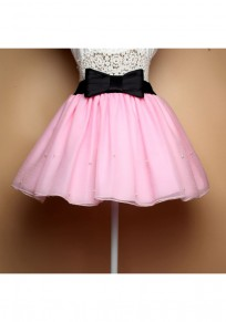 Rosa Ebene Granatapfellikör Bogen Gürtel Elastische Taille Mode Rock