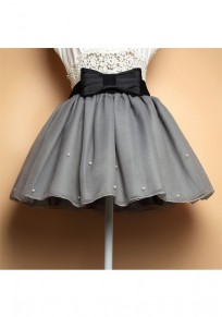 Grey Patchwork Bow Double-deck Pearl Pleated Sweet Skirt