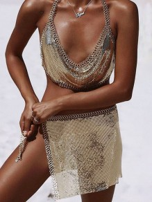 Golden Chain Sequin Irregular Side Slit Mid-rise Beach Mini Skirt