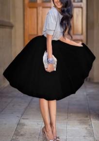 Black Plain Grenadine Pleated Elastic Waist Fashion Skirt