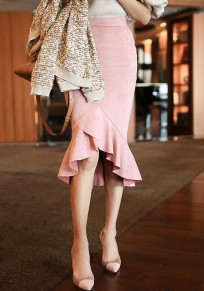 Pink Ruffle Irregular Mermaid High-low High Waisted Slim Skirt