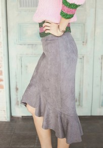 Grey Ruffle Irregular Mermaid High-low High Waisted Slim Skirt