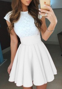 White Pleated Comfy Elastic Waist High Waisted Fashion Skirt