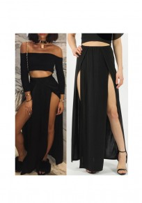 Black Side Slit Sewing Mid-rise Fashion Loose Skirt