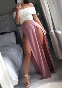 Jupe couture à fente latérale taille normale mode lâche rose
