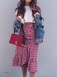 Red-White Plaid Irregular Ruffle Single Breasted High Waisted Vintage Skirt