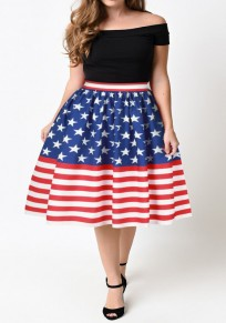 Multicolor Striped?American?Flag Print A-line Draped High Waisted Skirt
