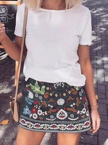 Green Tribal Floral Print Zipper A-line Casual Skirt