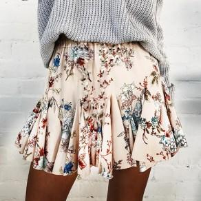 White Floral Print Pleated Elastic Waist Vintage Skirt