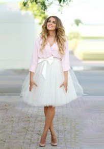 White Grenadine Bow Pleated Plus Size Fluffy Puffy Tulle Skirt