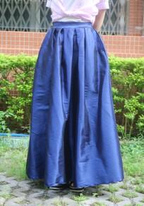 Blau Gefälschtd A Typ Elastische Taille Mid-rise Elegant Rock