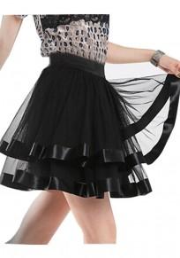 Schwarze Plissee Stratifizierte Süße Mode Chiffon Entzückende Tutu Minirock Tüllrock Damen