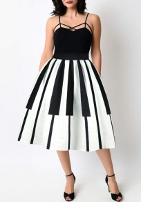 White-Black Patchwork Pleated Zipper High Waisted Elegant Midi Skirt