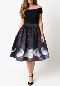 Black Galaxy Print Pleated Zipper High Waisted Fashion Midi Skirt