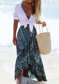 Blue Floral Irregular Lace-up High Waisted Maxi Skirt