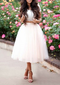 White Grenadine Pleated Plus Size Fashion Tutu Midi Skirt