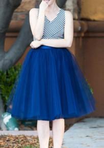 Sapphire Blue Belt Elastic Waist Mid-rise Cute Tutu Skirt