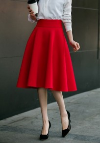 Red Zipper Draped High Waisted A-Line Vintage Flared Skirt