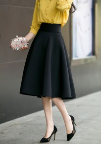 Black Zipper Draped High Waisted A-Line Vintage Flared Skirt