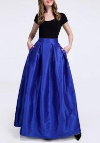 Jupe poches plissées fermeture éclair tutu une ligne élégant bleu