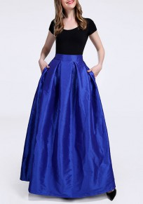 Falda bolsillos plisados cremallera tutu alinear elegantee azul
