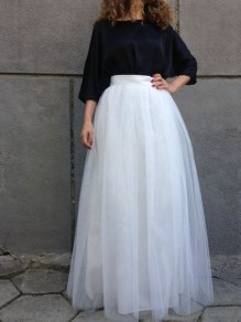 White Grenadine Pleated High Waisted Tutu Elegant Long Skirt