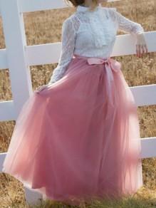 Pink Grenadine Bow Pleated High Waisted Tutu Elegant Long Skirt