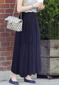 Dark Blue Pleated High Waisted Fashion Long Skirt