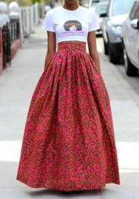 Jupe longue imprimé africaine fleurie culotte haute élégant femme rouge