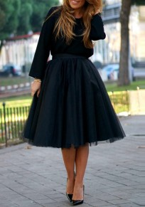 Black Grenadine Elastic Waist High Waisted Tulle Tutu Elegant Skirt