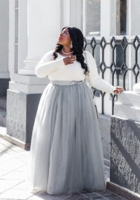 Grey Grenadine Pleated High Waisted Plus Size Fluffy Tulle Tutu Cute Skirt
