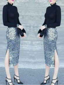 Silver Sequin Side Slit High Waisted Skinny Fashion Midi Skirt