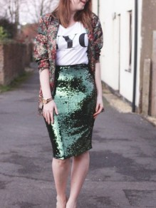 Green Sequin Bodycon High Waisted Christmas Party Skirt