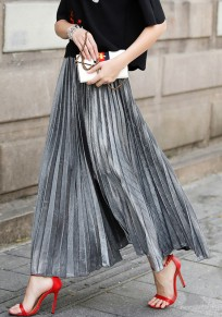 Silver Pleated Oversize Elastic Waist High Waisted Skirt