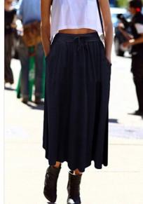 Blue Pockets Bow Pleated High Waisted Fashion Skirt