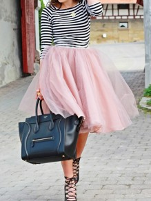 Pink Grenadine Pleated Oversize Tulle Tutu High Waisted Skirt