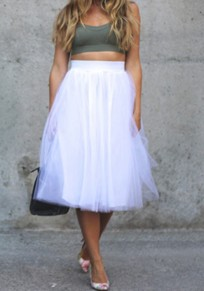 White Grenadine Pleated Oversize Tulle Tutu High Waisted Skirt