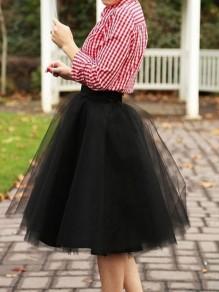 Mi-longue jupe tutu tulle plissé taille élastique élégant femme noir