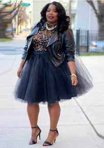 Black Grenadine Plus Size High Waisted Tutu Fluffy Tulle Party Skirt