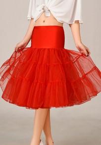 Red Grenadine Blue High Waisted Above Knee Skirt